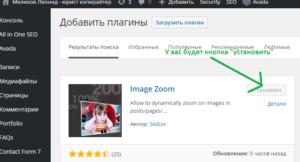 Как установить плагин Image Zoom