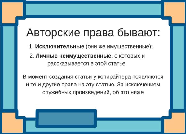 Авторское право копирайтера на тексты сайта